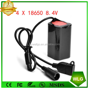 Waterproof li-ion battery pack 18650 8.4v with USB and DC Interface For T6 Q5 LED Bike Lights Headlamp