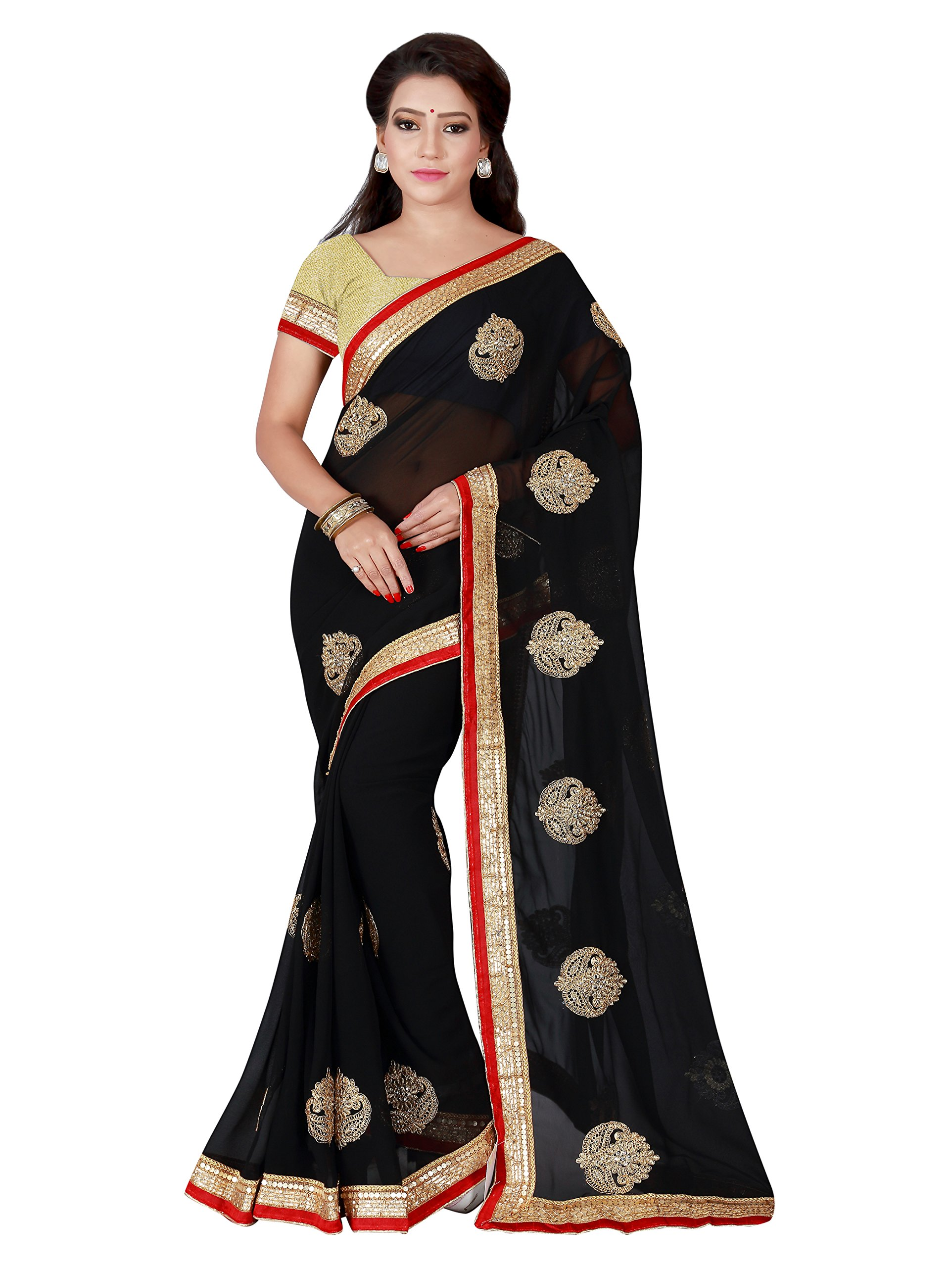 818ec75a40296 Women s Party Wear Butti   Patch Work Half   Half Saree With Unstitched  Blouse