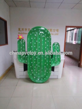 cheap pvc inflatable green cactus transparent mattress/inflatable floating row high quality/inflatable transparent cactus
