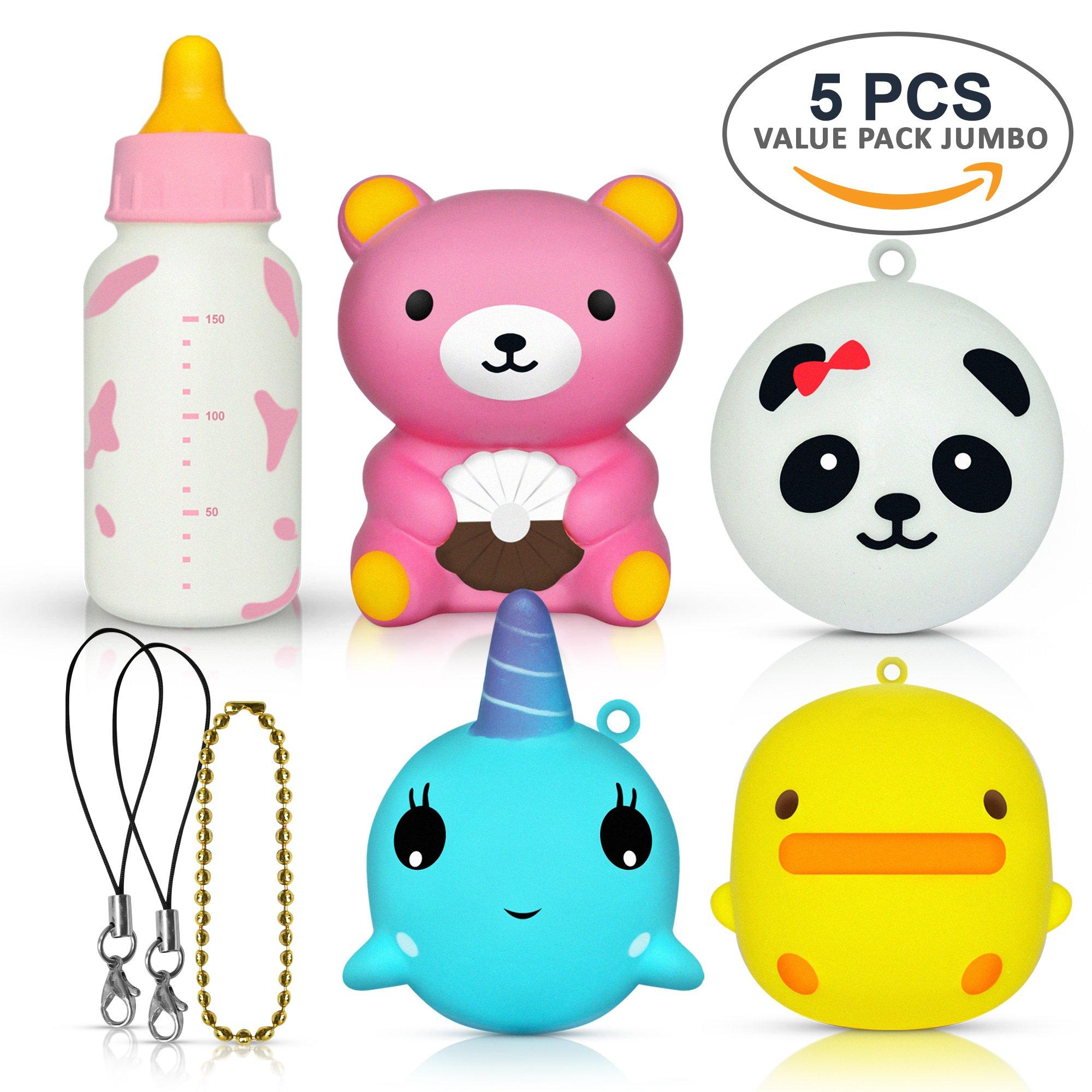 5 PCS Jumbo Squishies Value Pack – Super Cute Kawaii, Slow Rising, Animal Squishy Toys Set (Giant Bear, Panda, Whale, Chicken, Milk Bottle) Plus 3 Free Keychains. Fun for Kids, Teens & Adults.