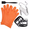 Silicone BBQ/Cooking Gloves - Bear Claws - Silicone Basting Heat Resistant Kitchen Brush - S Shaped Hanging Hooks Kitchen