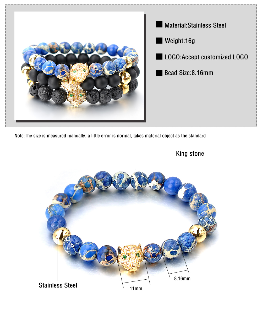 Wholesale Men Bead Jewelry Gold Leopard Head Black Lava Rock Bracelet