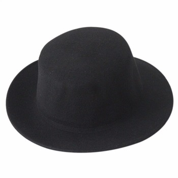 f5d4d5ade64 Bowler Men Women Wool Felt Crushable Hat Round Flat Short Top Fedora Cap