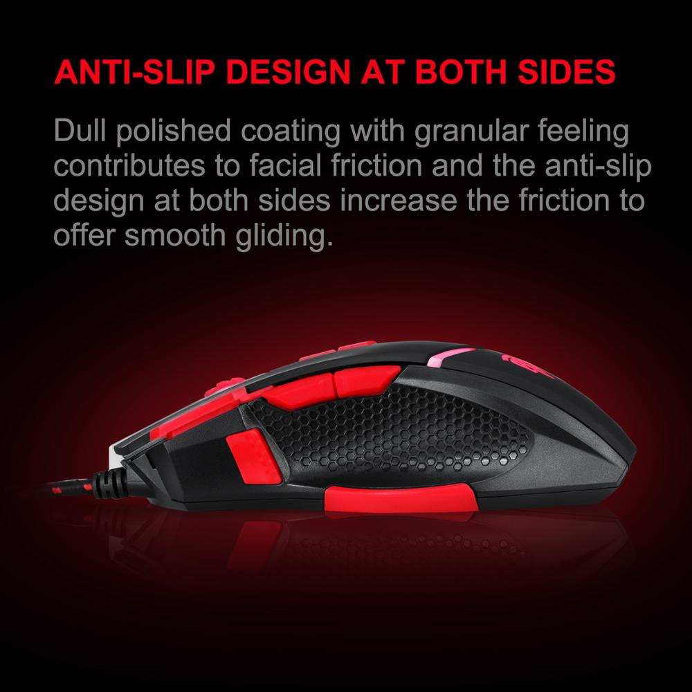 EasySMX V18 Optical Mouse Weight Tuning Set Non-slip Design with LED Light Fire//Sniper Button 4 Programmable Button for Laptop PC Computer Gamer Black and Red