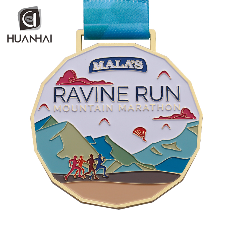 Huanhai factory OEM colours enamel metal ravine run mountain marathon sports medal India