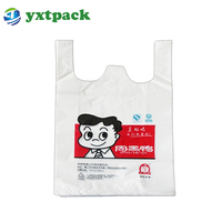 High Tensile Strength Reusable Supermarket Shopping Durable Wholesale Cheap Plastic T Shirt Bags With Printing