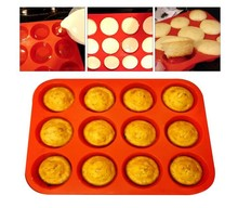 Non stick Dishwasher Microwave Safe Silicone Muffin Pan,12-Cup Muffin Trays Red Silicone Cupcake Baking Pans