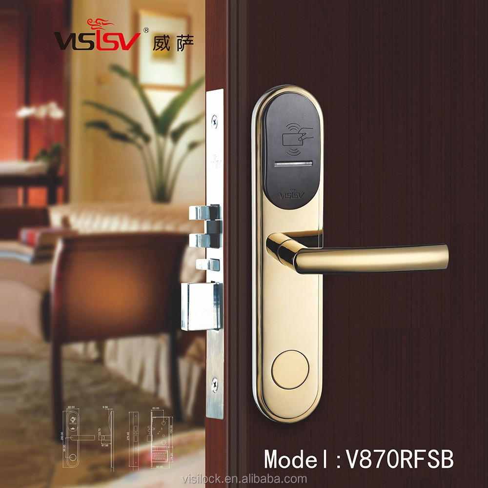 304 stainless steel fireproof hotel key card lock system will never fade