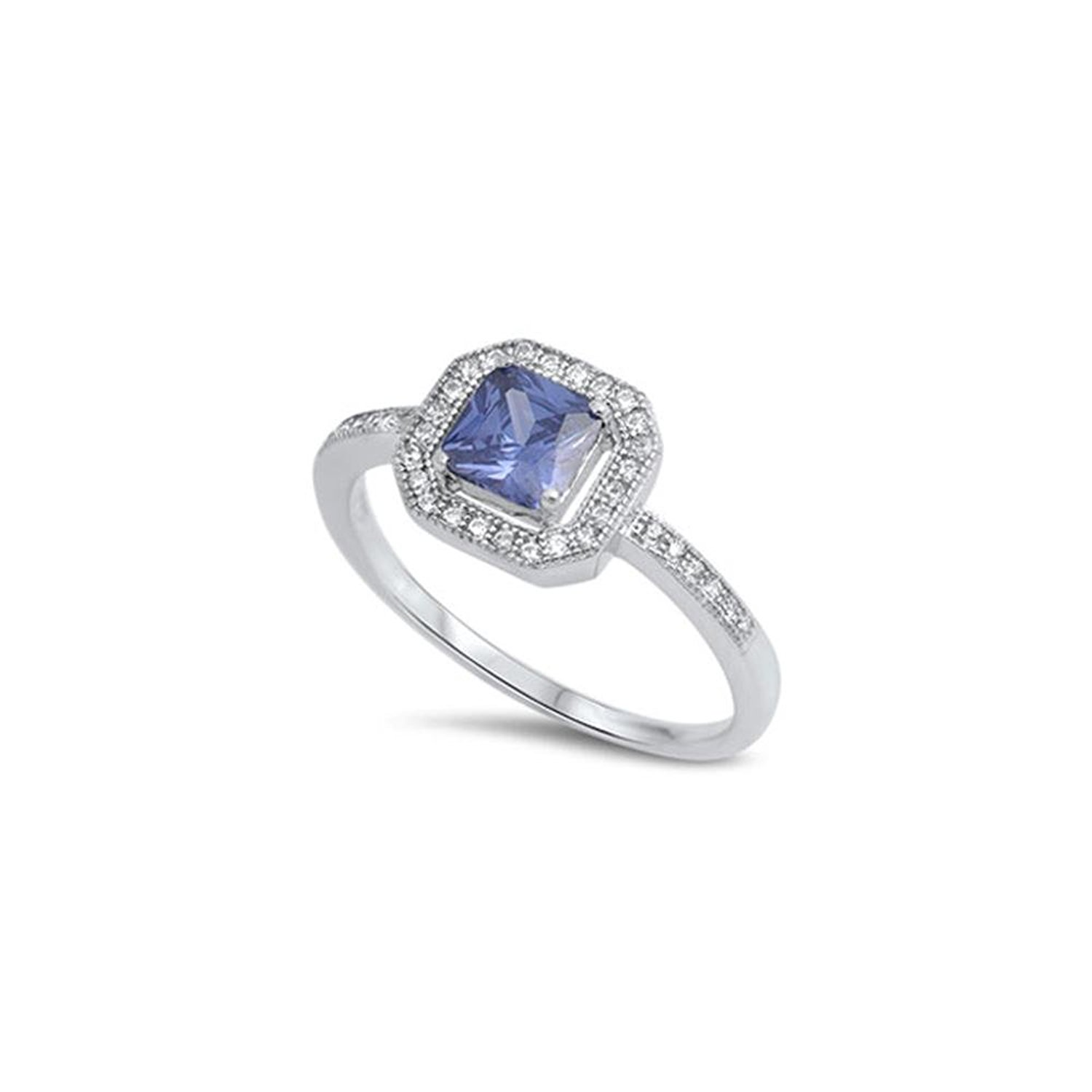 Noureda Sterling Silver Classy Princess Cut Tanzanite Cz with Pave Halo Setting Ring, Face Height of 6MM, Band Width: 2MM