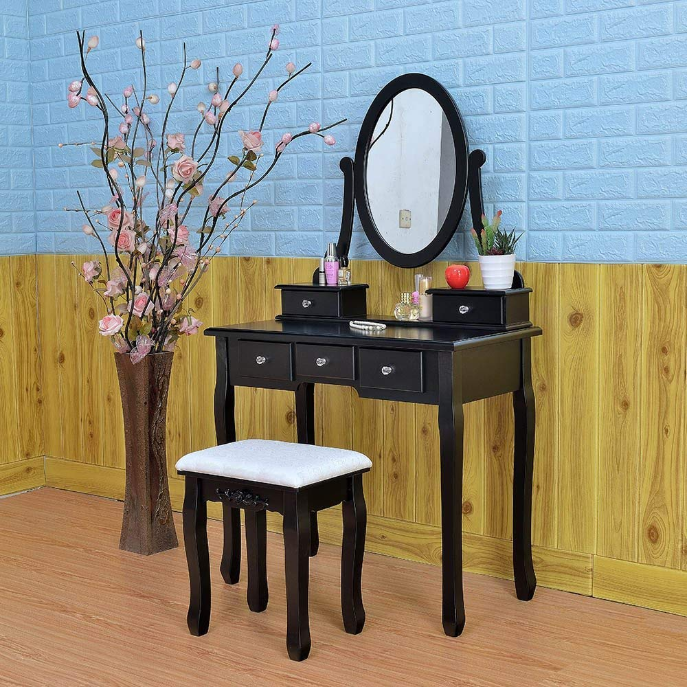 Bling Bling Bedroom Dressing Table, Vanity Table with 360°Rotation Oval Mirror 5 Drawers and Stool Set, Hair Dressing Organizer Drawer Bathroom Makeup Set (Black)