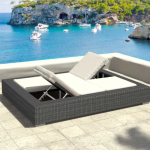 Multi-position Designed Double Wicker Rattan Aluminium Sun Furniture Outdoor Lounger Lying Bed