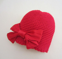 Christmas Red Bow Baby Bonnet