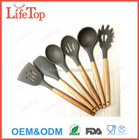2016 China Manufacture Non-stick Custom Silicone and Bamboo Kitchen Utensils