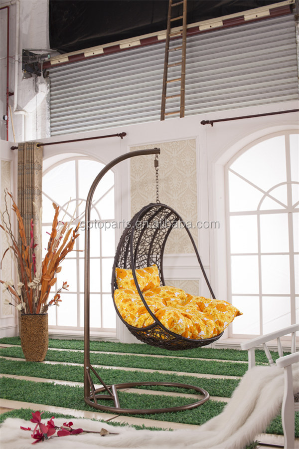 GP Resin Wicker Espresso Hanging Egg Chair with  Cushion and Stand