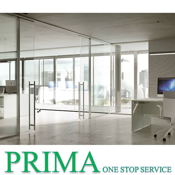 Office glazed wall / tempered glass partition / interior glass sliding door