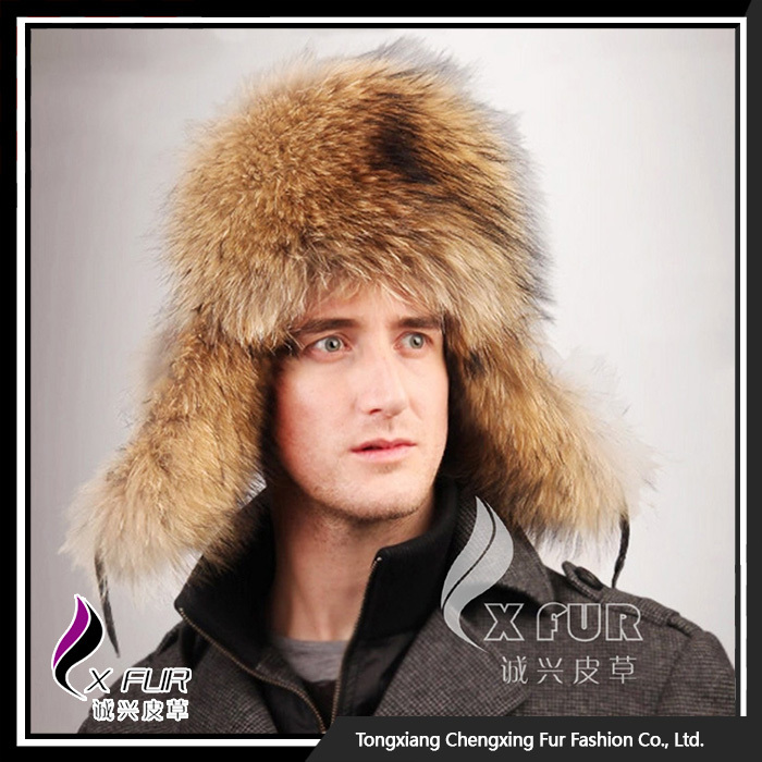 CX-C-47A Earflap Russian Hat Genuine Raccoon Men <strong>Caps</strong> And Hats
