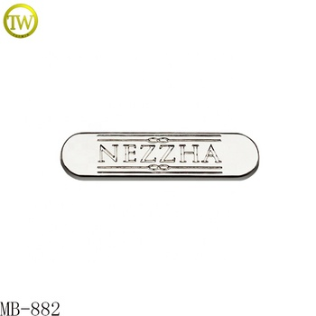 New arrival stamped letter plate brand logo metal tag for bag accessories