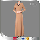 Zippered Turkish Style Abaya Elegant Golden Brown Jubah Women Latest Design Islamic Clothing