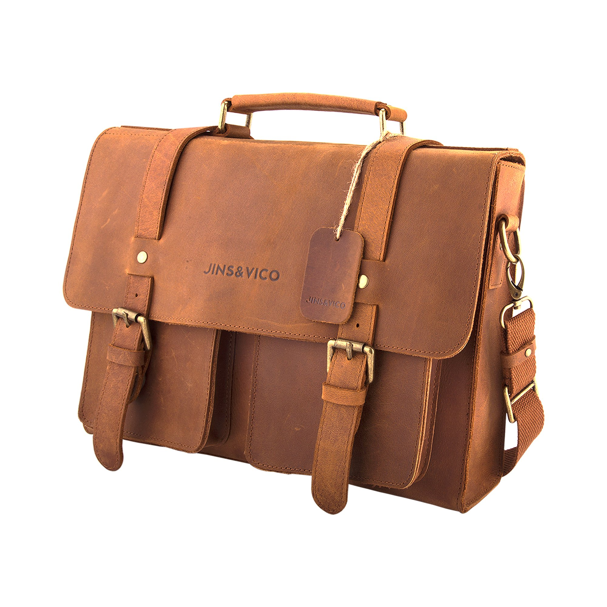Get Quotations · Satchel Messenger Bag 14-inch Handmade Leather Vintage  Canvas Business Bag Essentials for Laptop   7506ee9ad7