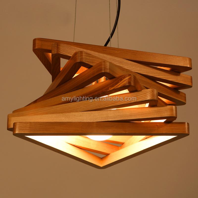 falso techo de madera colgante de iluminacin de la lmpara e espiral de madera pila light