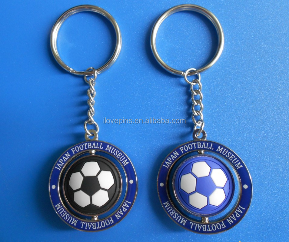 custom rotary keychain, pvc soccer keyring for FOOTBALL MUSEUM gift
