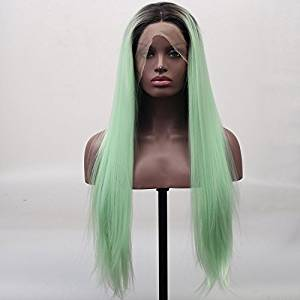 Arimika Fashion Silk Straight Short Brown Roots Mint Green Ombre Heat Safe Synthetic Hair Lace Front Wig