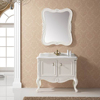Small single sink cheap white bathroom solid wood cabinet bedroom vanity