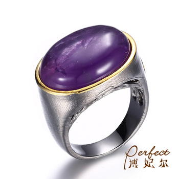Big Amethyst Stone 925 Sterling Silver Latest Ring Design for Girls