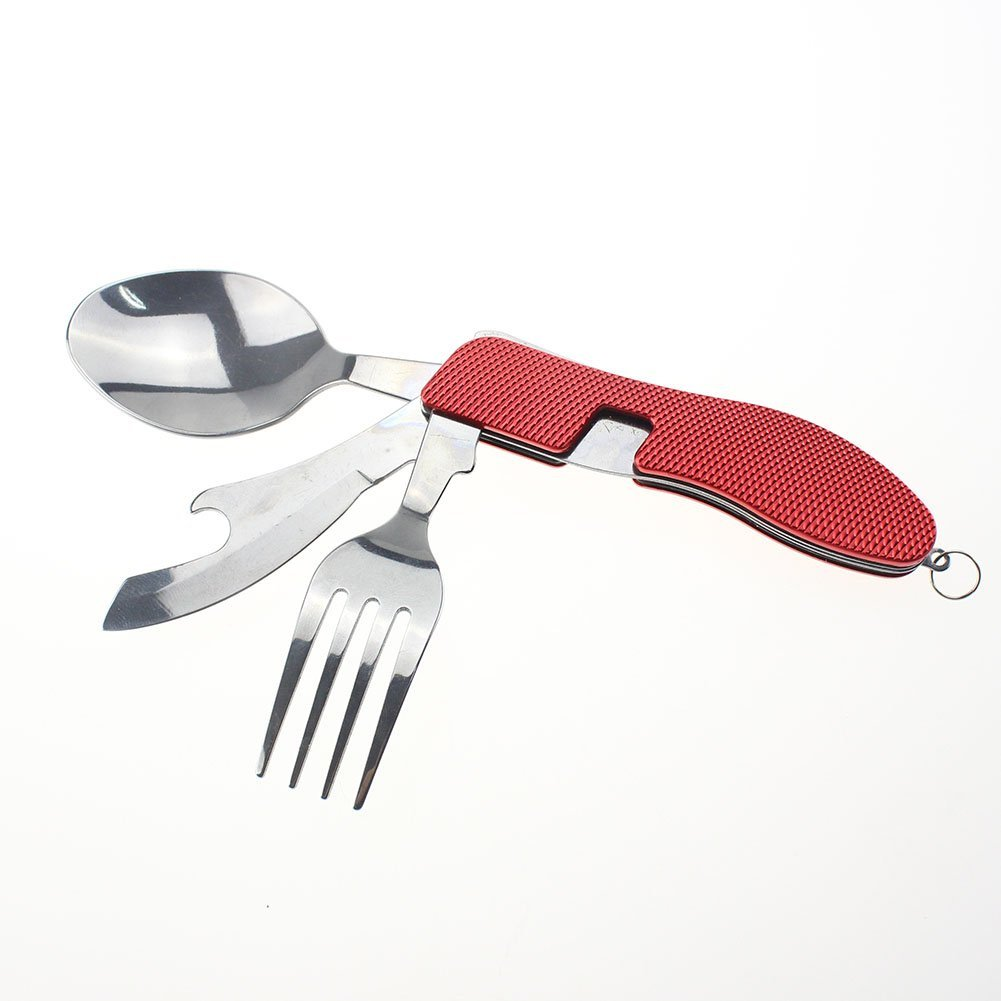 Camping & Hiking Outdoor Camping Folding Tableware Set Multipurpose Handle Fork Knife Spoon Bottle Opener Canvas Carry Pouch Picnic Cutlery Sets