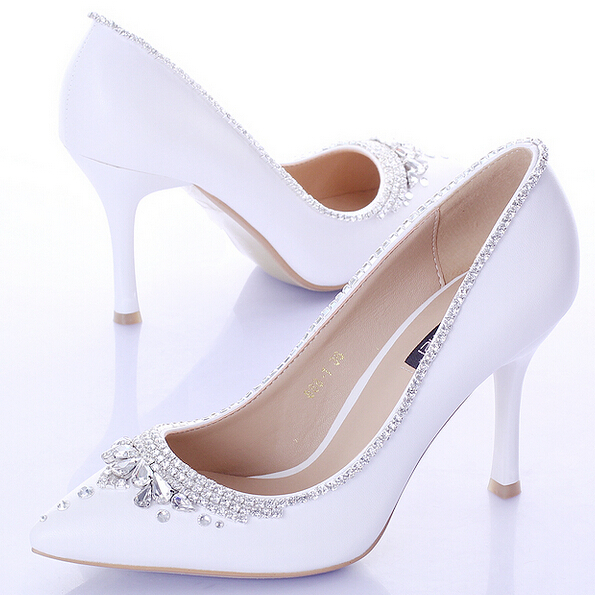 2015 White Rhinestone Bridal Shoes Ultra High Heels Thin Heels Shallow Mouth Pointed Toe Wedding Shoes Crystal Pumps