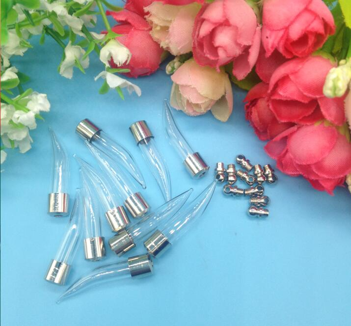 new product f9528 21758 50pcs lot Screw cap 39 6mm Fang tooth pepper glass vial pendant Wishing  Bottle jars glass globe name or rice art Holder Craft - us608