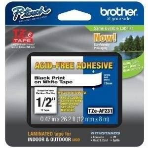"Brother Tze 231 - Laminated Tape - Black On White - Roll (0.47 In X 26.3 Ft) - 1 Roll(S) - For P-Touch Pt-1010, 1090, 1280, 2030, 2430, 2730, 7100, 9700, 9800, H300, H500, P700, P750 ""Product Type: Supplies & Accessories/Paper Supplies"""