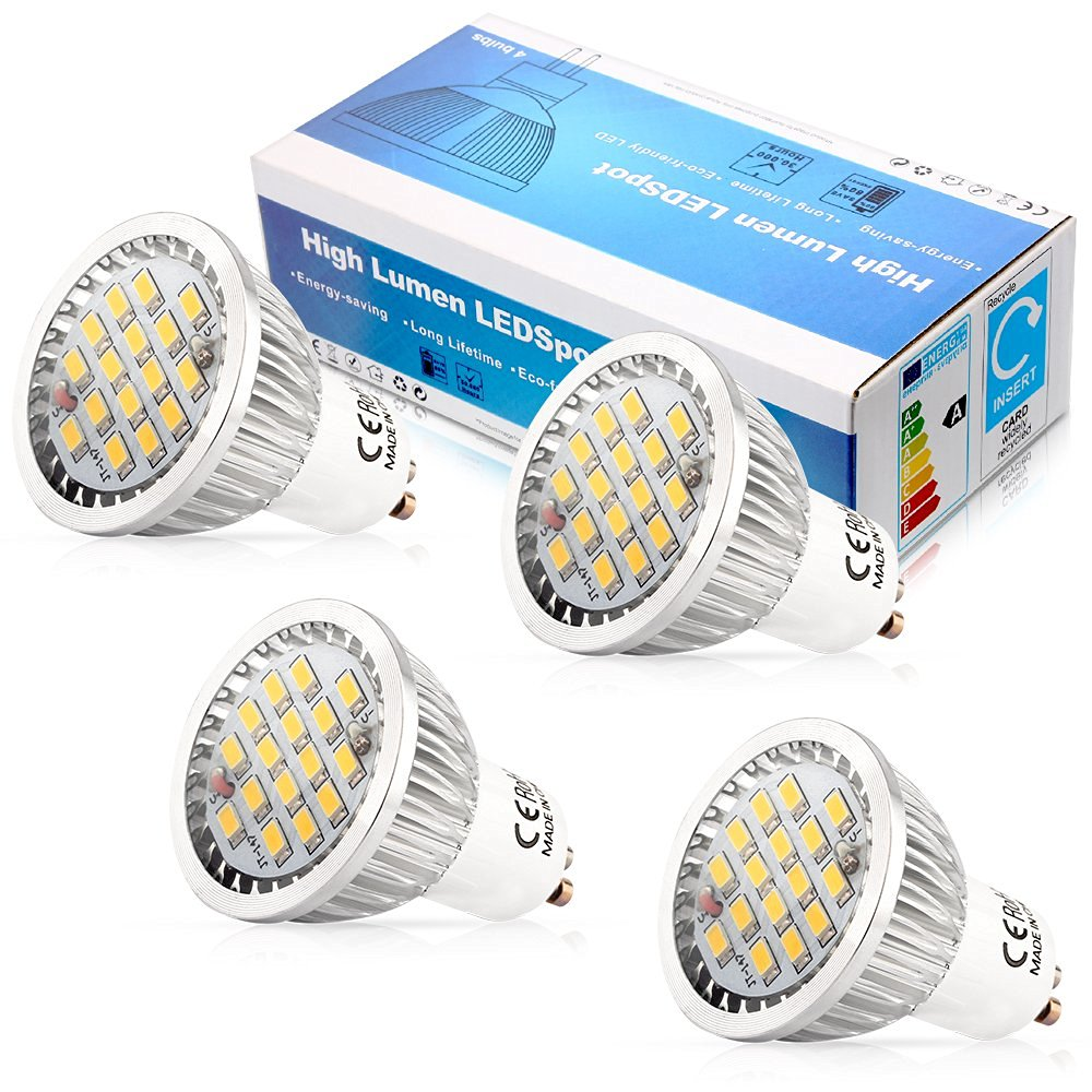Elinkume 5W LED Gu10 light Bulb 110V, Warm White 3000k ,120 Degree Beam Angle ,Undimmable LED Soptlight bulb (4 Pack)