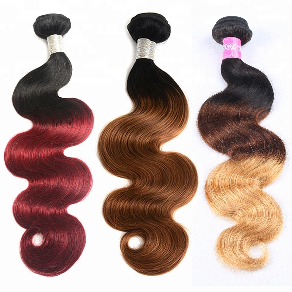 Free Shipping Remy Mink Weave Body Wave Virgin Human Hair Bundles Ombre Extensions 100% Natural Indian Hair Cuticle Aligned Hair, Three tone ombre color 1b/4/27;1b/ burgundy