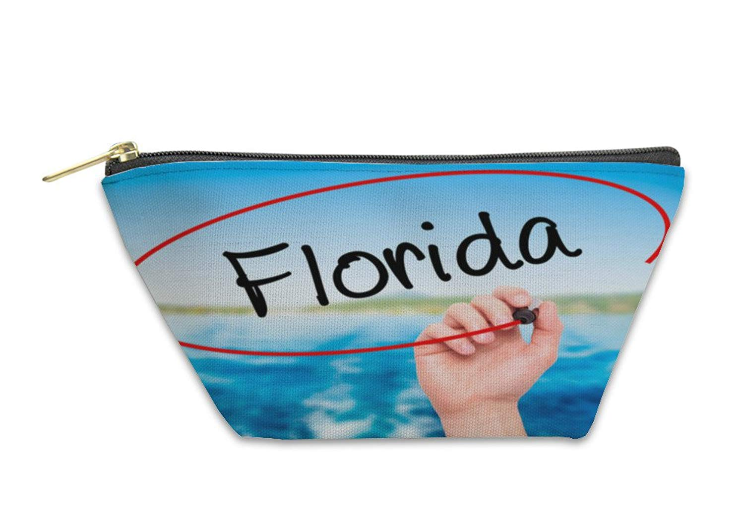 Gear New Accessory Zipper Pouch, Man Hand Writing Florida With Black Marker On Visual Screen, 5917309GN
