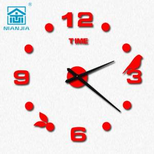 TONPAR Creative diy wall clock / watch Art / Modern backdrop personality mute wall clock , red