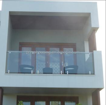 Modern Home Balcony Glass Railing Design Stainless Steel Mini Post