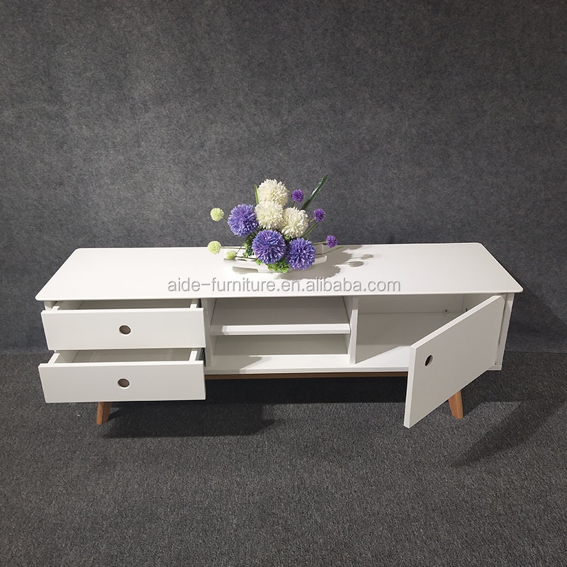 White MDF Tv Stand Solid Wood TV Showcase Cabinet
