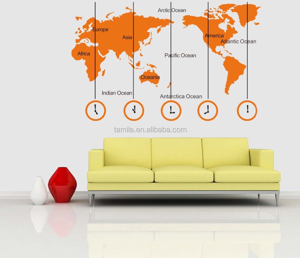 World map sticker for wall india - World Map And Time Zone Large Wall Sticker Decal Tv Sofa Background Home Office Decor Buy School Home Office Decoration Home Decoration Pieces Islamic