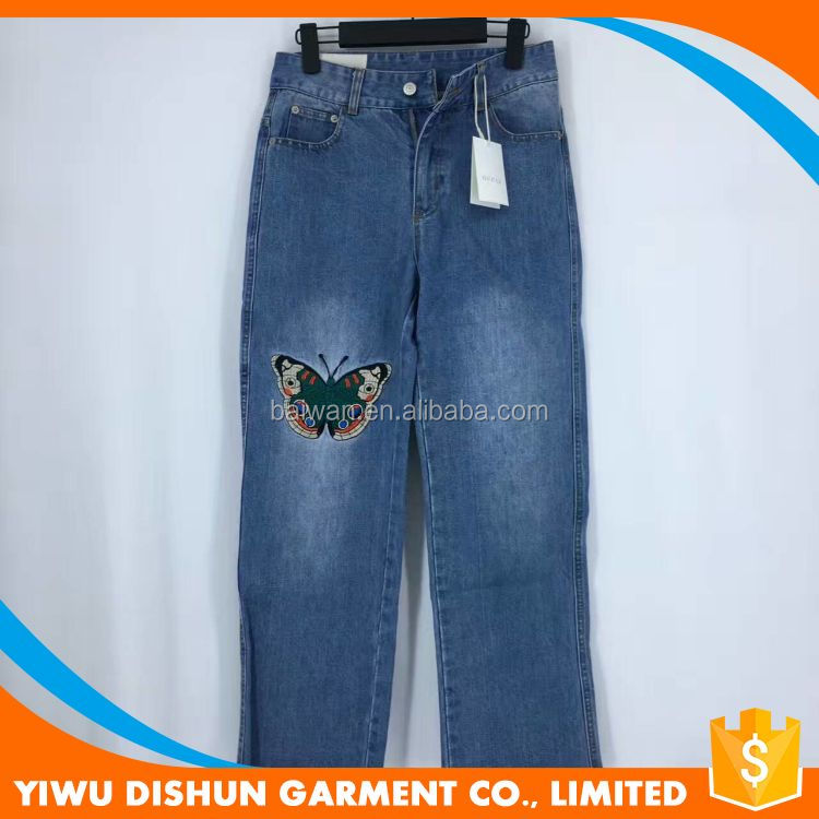 Ladies wholesale butterfly embroidery name brand jeans pants