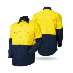 Mens Long Sleeve Workwear Safety Uniform Shirts With Buttons