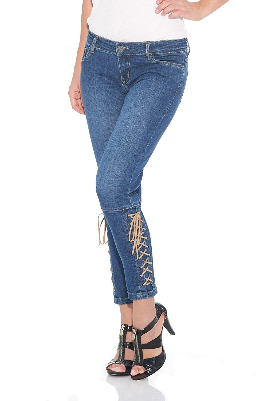 d26111c3e01 Suko Jeans Women s Stretch Denim Ankle Lace-up Jean