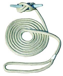 Invincible Marine 20-Foot Double Braid Hand Spliced Nylon Dock Line, 3/8-Inches by 20-Feet, Gold by Invincible Marine