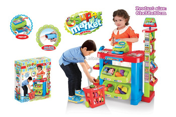 Educational sale toys supermarket set market stall cart real action with sound and light