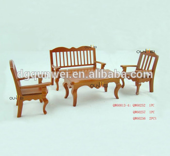 Eco Friendly Simple Office Furniture Dollhouse Miniatures Whole Wood Design Sofa Set Qw60013