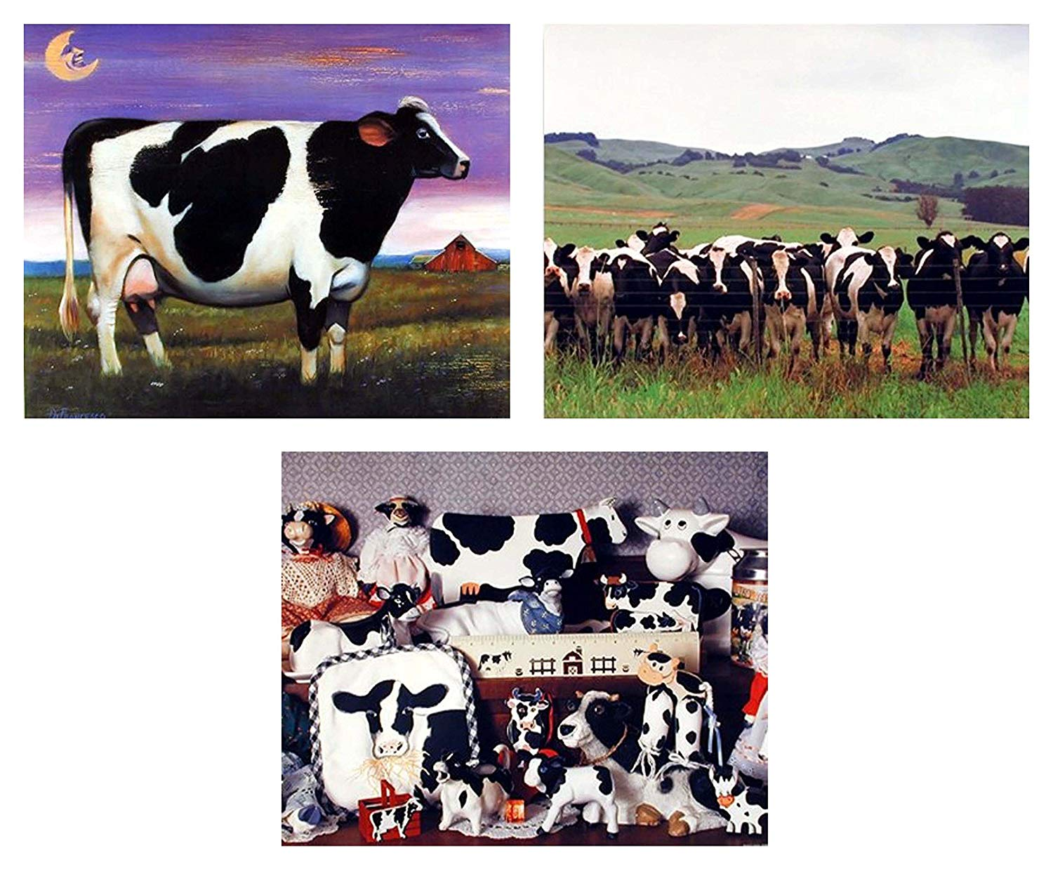 Wall Decor Picture Country Holstein Cow Dairy Farm Animal 8x10 Three Set Art Print Posters