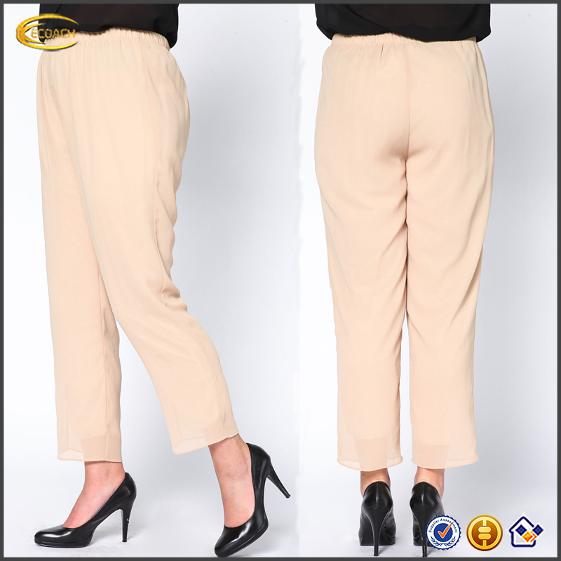 Ecoach Wholesale OEM Clothing manufacturing Stretchy elastic waist custom design capri chiffon pants high waisted palazzo pants