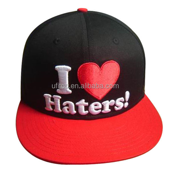 2014 6 panel black and red fabric I love good embroidery most popular promotion hater snapback hats