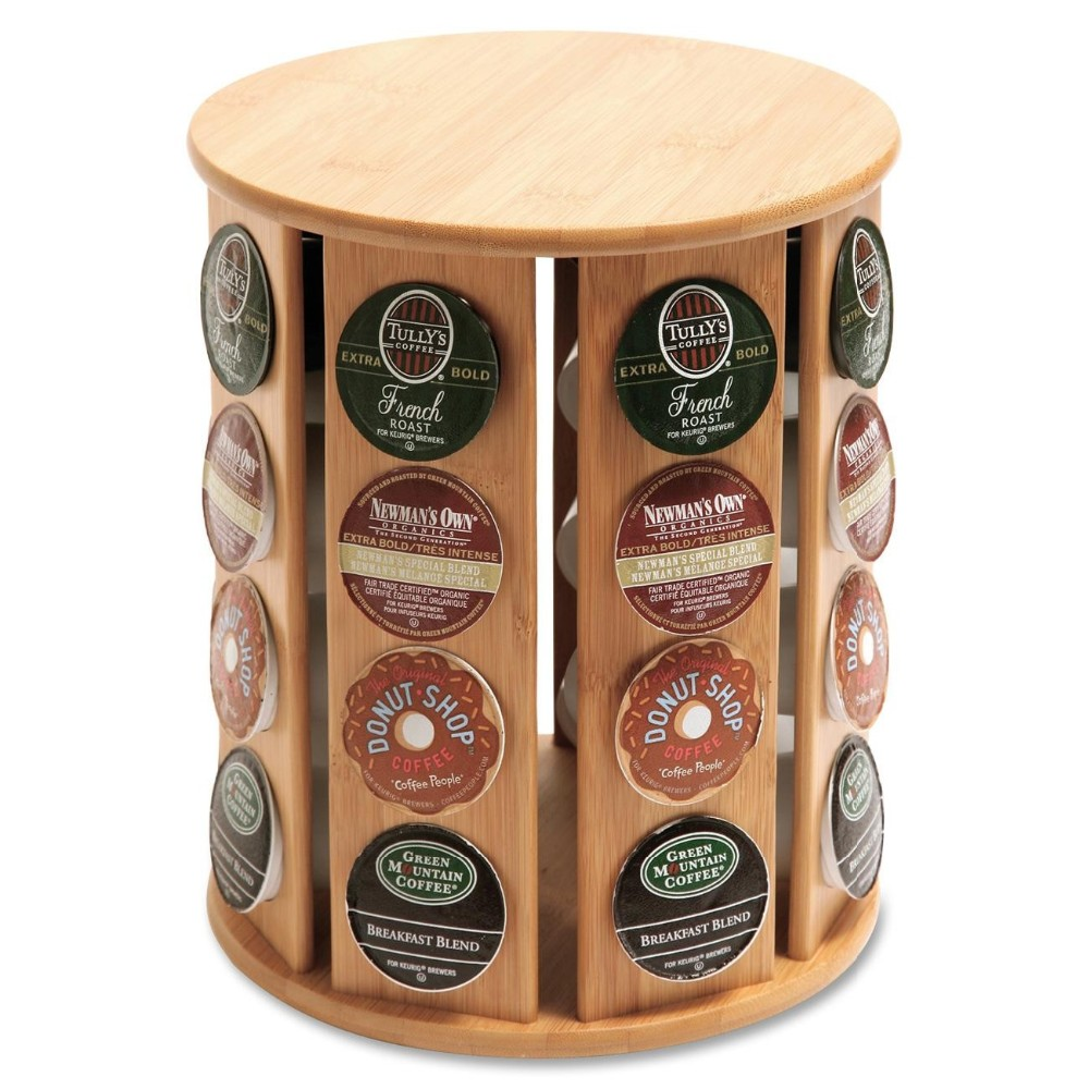 revolving bamboo coffee tea capsule dispenser 2