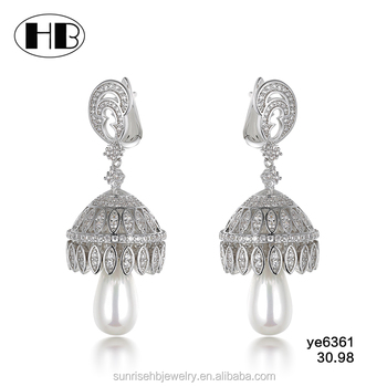 Fashion Whole Heavy Bridal Freshwater Pearl Hanging Diamond Earrings